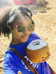 Me enjoying the REAL agua de coco. Vita Coco is deceiving! Natural is always better!!!