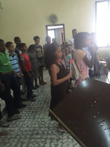 Children singing for Sabbath after the testimonies from our kid's program